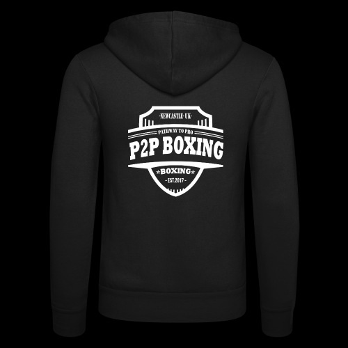 P2P Boxing White Logo - Unisex Hooded Jacket by Bella + Canvas