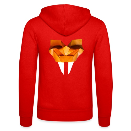 Origami Saber Toothed Tiger Mask - Origami Tiger - Unisex Hooded Jacket by Bella + Canvas