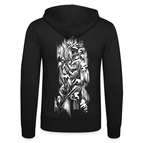 Samurai / White - Abstract Tatoo - Unisex Hooded Jacket by Bella + Canvas