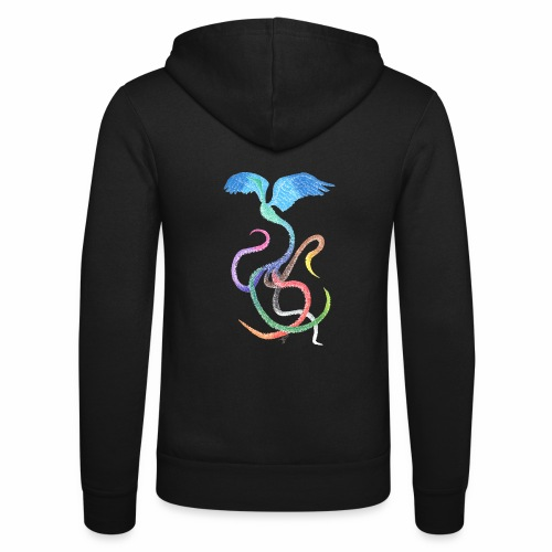 Graceful - Rainbow Bird in Ink - Unisex Hooded Jacket by Bella + Canvas