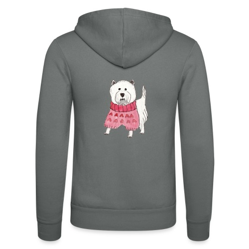 westie with sweater - Unisex hættejakke fra Bella + Canvas