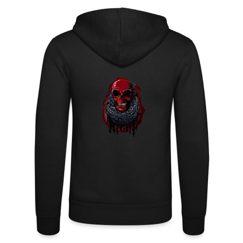 Red Skull in Chains - Unisex Hooded Jacket by Bella + Canvas