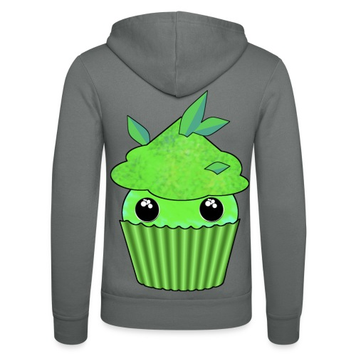 Green Kawaii Cupcake with mint or green tea leaf - Unisex Hooded Jacket by Bella + Canvas