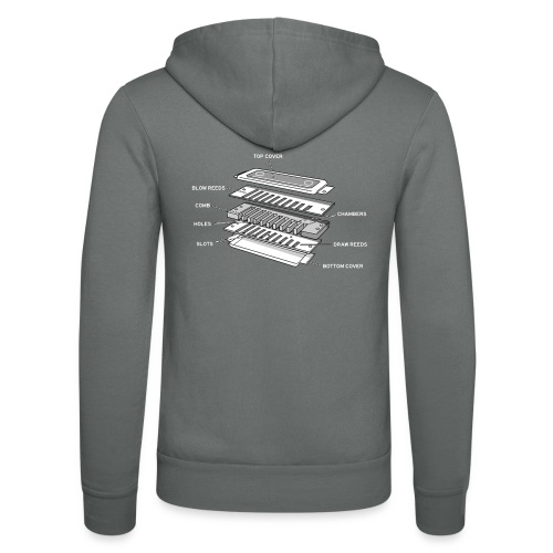 Exploded harmonica - white text - Unisex Hooded Jacket by Bella + Canvas