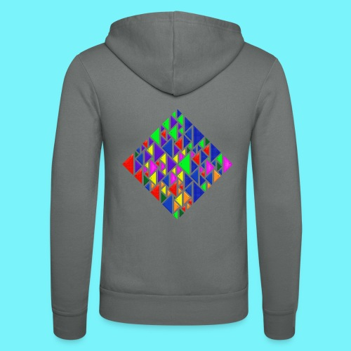 A square school of triangular coloured fish - Unisex Hooded Jacket by Bella + Canvas