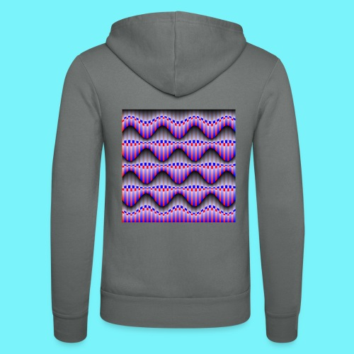 Sine waves in red and blue - Unisex Hooded Jacket by Bella + Canvas
