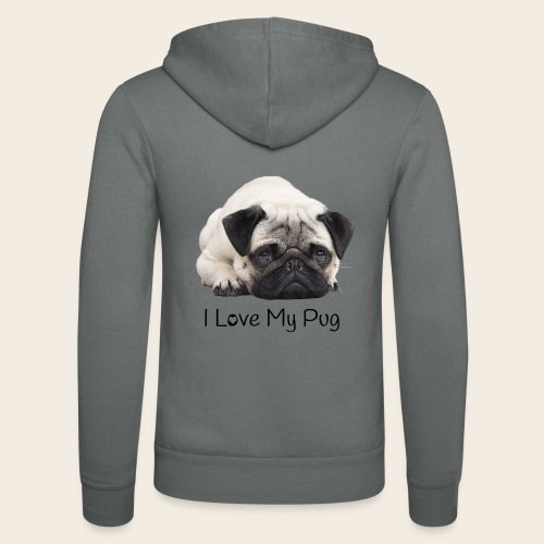 love my pug - Unisex Kapuzenjacke von Bella + Canvas