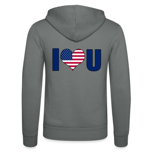 I love u USA - Unisex Hooded Jacket by Bella + Canvas