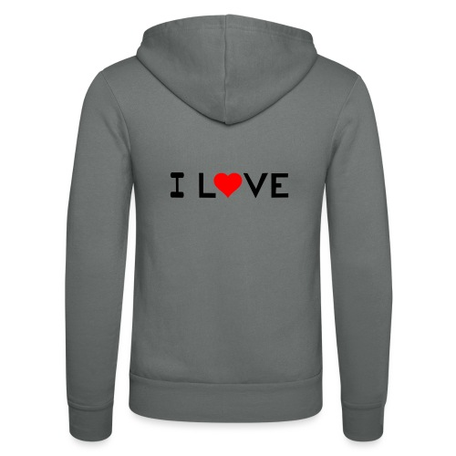I love - Unisex Hooded Jacket by Bella + Canvas