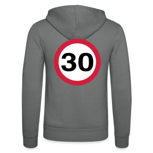 30mph Speed Limit Vector - choose design colours - Unisex Hooded Jacket by Bella + Canvas