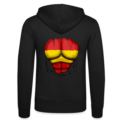 España Flag Ripped Muscles six pack chest t-shirt - Unisex Hooded Jacket by Bella + Canvas