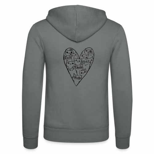 I Love Cats - Unisex Hooded Jacket by Bella + Canvas
