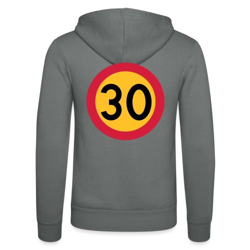 30 kph Road Sign Vector Design - Unisex Hooded Jacket by Bella + Canvas
