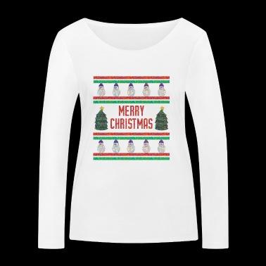 Wesołych Chrismas Funny Shirt (brzydki sweter) - Ekologiczna koszulka damska z długim rękawem Stanley & Stella