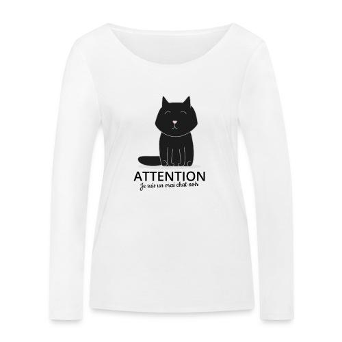 Chat noir - T-shirt manches longues bio Stanley & Stella Femme
