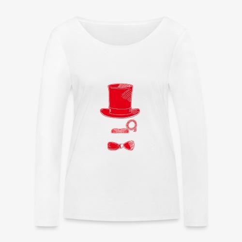 Elegant Hipster Fish - Mustache - Red - Frauen Bio-Langarmshirt von Stanley & Stella