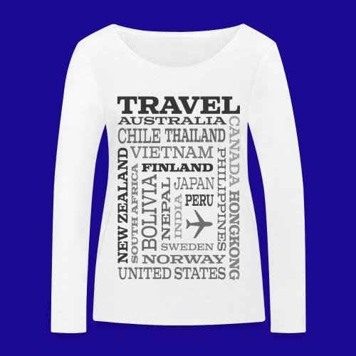 Travel Places Gray design - Stanley & Stellan naisten pitkähihainen luomupaita