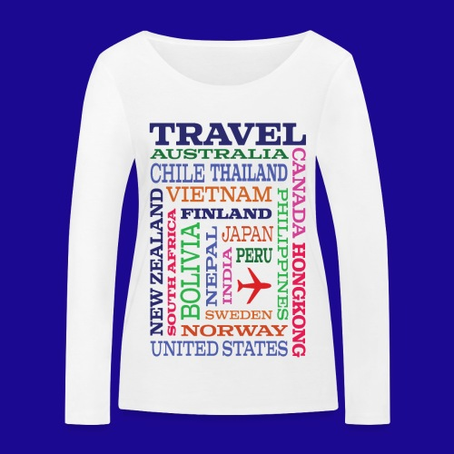 Travel Places design - Stanley & Stellan naisten pitkähihainen luomupaita