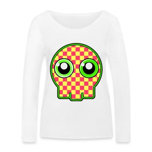 gullig dödskalle med gröna ögon - Women's Organic Longsleeve Shirt by Stanley & Stella