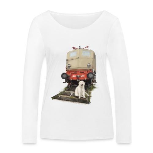 Golden Retriever with Train - Maglietta a manica lunga ecologica da donna di Stanley & Stella