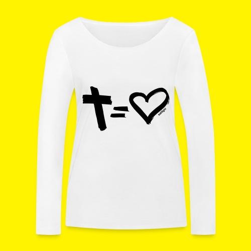 Cross = Heart BLACK - Women's Organic Longsleeve Shirt by Stanley & Stella