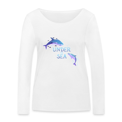 Under the Sea - Shark and Dolphin - Women's Organic Longsleeve Shirt by Stanley & Stella