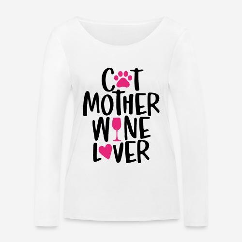 Katze Mutter Weinliebhaber - Frauen Bio-Langarmshirt von Stanley & Stella