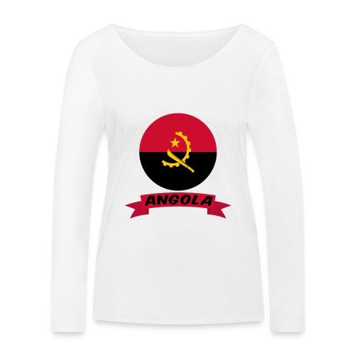 flag of Angola t shirt design ribbon banner - Maglietta a manica lunga ecologica da donna di Stanley & Stella