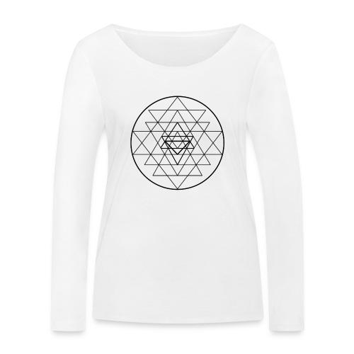 Sri Yantra - black and white - Økologisk Stanley & Stella langærmet T-shirt til damer