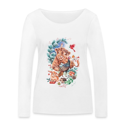 Vegan Christmas with cow and turkey. - Women's Organic Longsleeve Shirt by Stanley & Stella