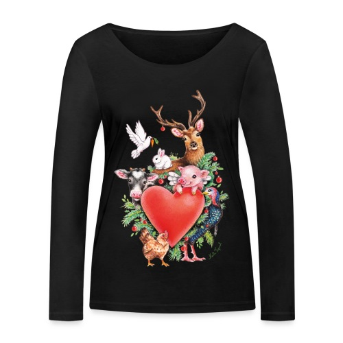 Christmas heart by Maria Tiqwah - Women's Organic Longsleeve Shirt by Stanley & Stella