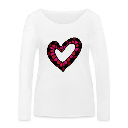 Herz Mosaik Buntglas - Frauen Bio-Langarmshirt von Stanley & Stella