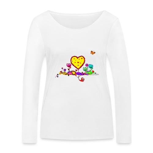Blumengruß mit Herz - Frauen Bio-Langarmshirt von Stanley & Stella