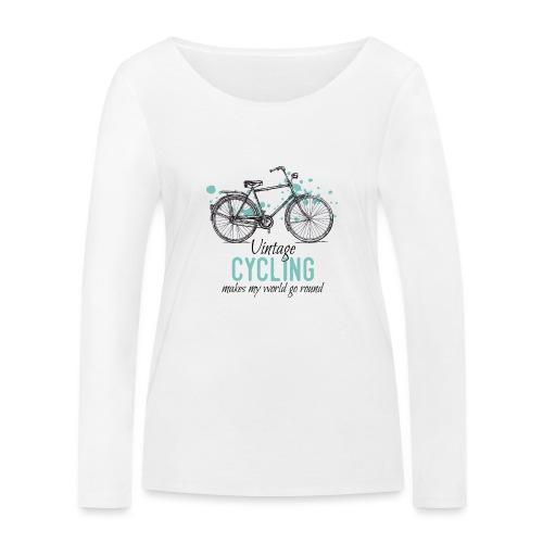 Retro Style Vintage Fahrrad Zeichnung - Frauen Bio-Langarmshirt von Stanley & Stella