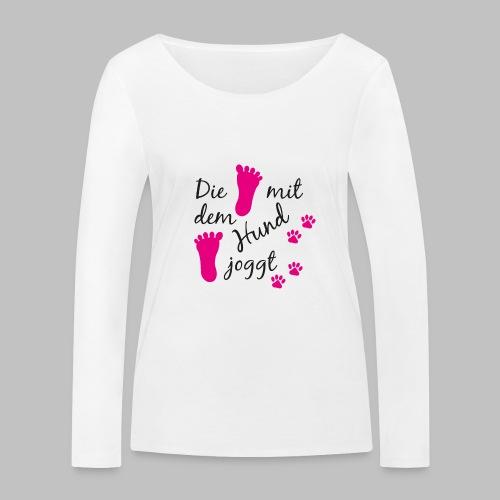 Die mit dem Hund joggt - Pink Edition - Frauen Bio-Langarmshirt von Stanley & Stella