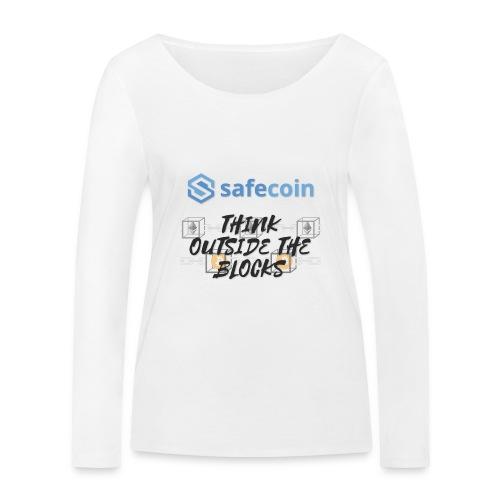 SafeCoin; Think Outside the Blocks (black + blue) - Women's Organic Longsleeve Shirt by Stanley & Stella