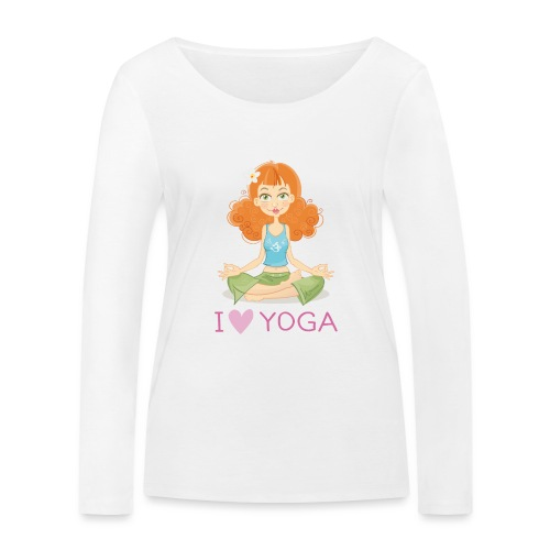 Yoga Lotus Pose Cartoon Girl - Frauen Bio-Langarmshirt von Stanley & Stella