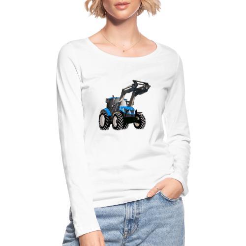 Blauer Traktor mit Frontlader - Frauen Bio-Langarmshirt von Stanley & Stella