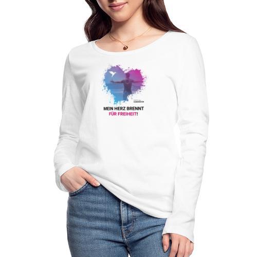 Mein Herz brennt für Freiheit! - Frauen Bio-Langarmshirt von Stanley & Stella