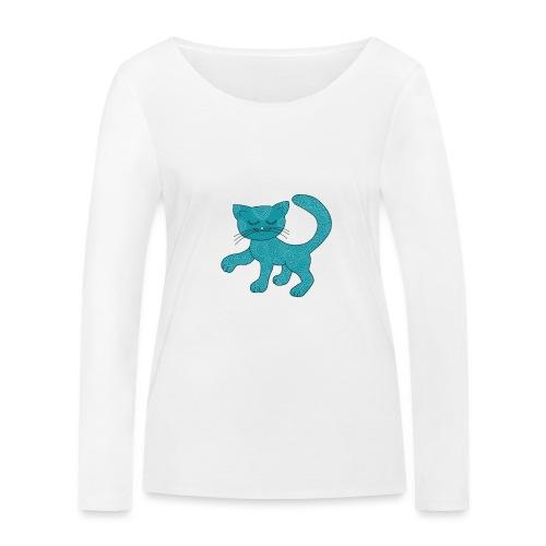 Spirituell anmutende Katze in Türkis mit Muster - Frauen Bio-Langarmshirt von Stanley & Stella