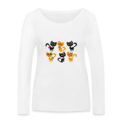 Katzen und Kätzchen majestätisch mit grossen Augen - Frauen Bio-Langarmshirt von Stanley & Stella