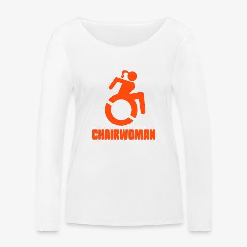 Rolstoel vrouw, chairwoman, dame in rolstoel, roll - Vrouwen bio shirt met lange mouwen van Stanley & Stella