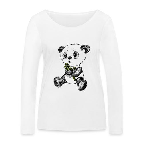 Panda bjørn farvet scribblesirii - Økologisk Stanley & Stella langærmet T-shirt til damer