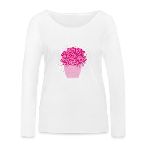Ranunkeln, Blumen in Pink handgezeichnet - Frauen Bio-Langarmshirt von Stanley & Stella