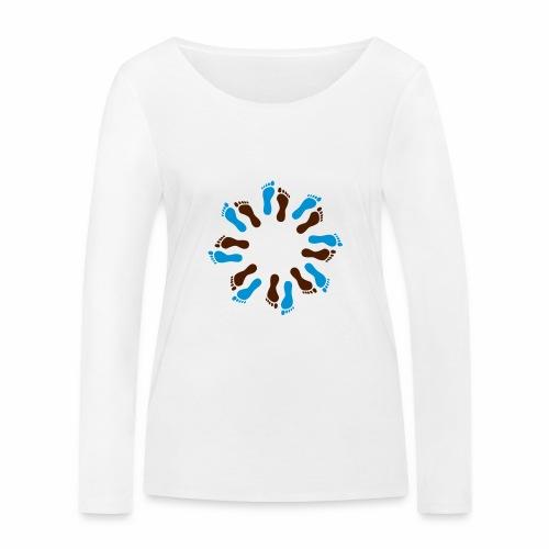 Barfuß-Kreis blau-braun - Frauen Bio-Langarmshirt von Stanley & Stella