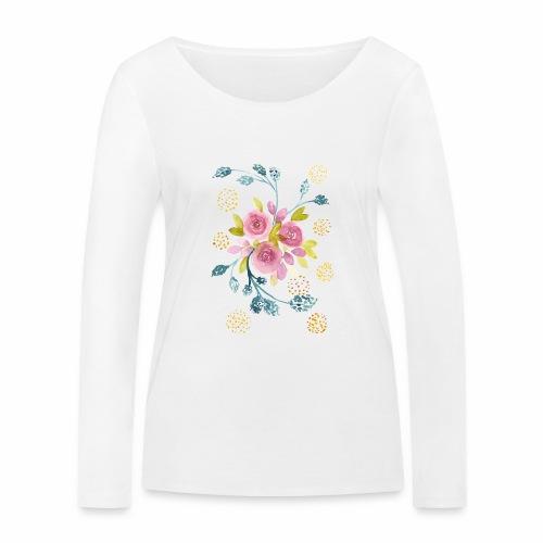 Nancy Rose Designs - Pink Roses - Women's Organic Longsleeve Shirt by Stanley & Stella