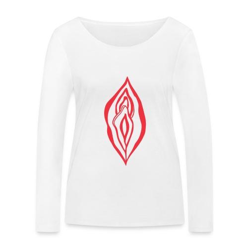 Red Hot Yoni Lips Sacred Pussy Power Feminist - Women's Organic Longsleeve Shirt by Stanley & Stella