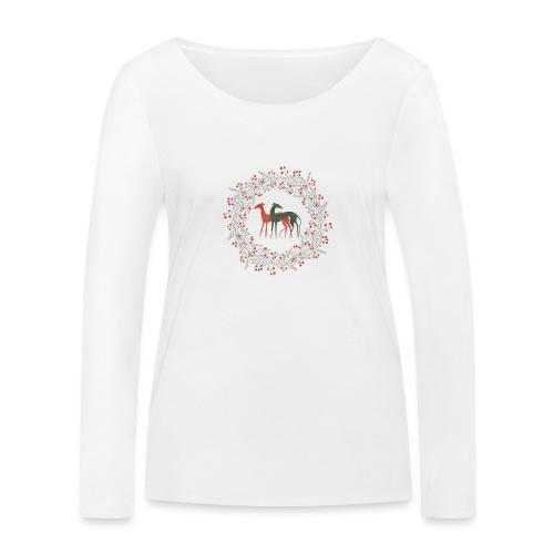 Windhunde im Winterkranz - Frauen Bio-Langarmshirt von Stanley & Stella