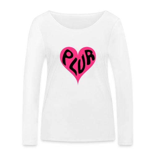 PLUR - Peace Love Unity and Respect love heart - Women's Organic Longsleeve Shirt by Stanley & Stella