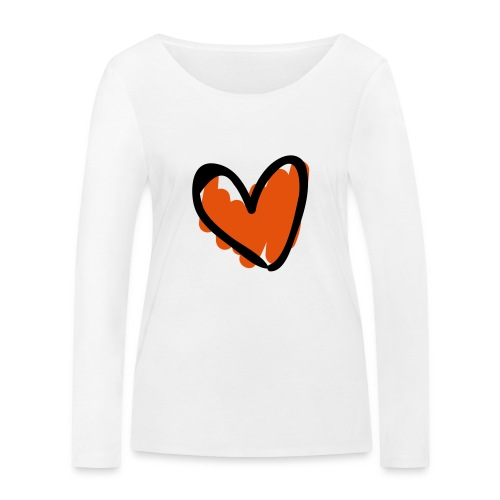 Heart Line Drawing Pixellamb - Frauen Bio-Langarmshirt von Stanley & Stella